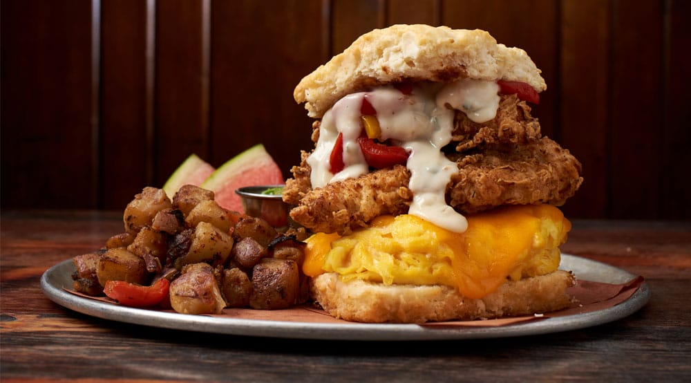 Fried Chicken and Egg Biscuit